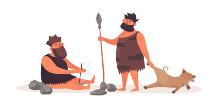 Primitive man produces fire by friction. A prehistoric man with a spear, dressed in pelt, brought booty from the hunt. The life of Neanderthals and cavemen. Vector flat illustration. 矢量图像