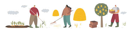 A group of farmers engaged in agricultural activities. Work and cleaning in the garden. People working in the field. Farmland. Trendy flat vector illustration.