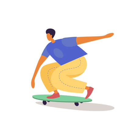 Boy-skateboarder riding a skateboard in trendy flat style. Summer active types of recreation. Vector illustration isolated on white background.