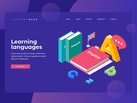 Illustration on theme of learning and teaching of foreign languages. Textbooks in French and English, England flag and letters of Latin alphabet. Homepage 3D isometric flat design. Landing Page. 矢量图像