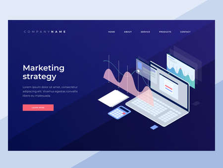 Concept business strategy. Analysis data and Investment. Business success. Financial review with laptop and infographic elements. 3D isometric flat design. Landing Page. Vector illustration. 矢量图像