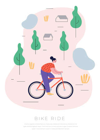Young cheerful girl riding her bike through the countryside. The concept of an active lifestyle. Ecological mode of transport. Vector illustration in trendy flat style. 矢量图像