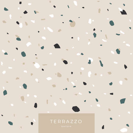 Texture Terrazzo in light gray colors. Classic italian cover composed of natural stone and concrete. Vector illustration. 矢量图像