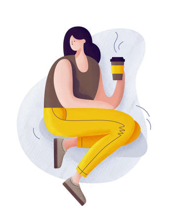 Young cartoon girl resting and drinking coffee. Coffee lover. Illustration.