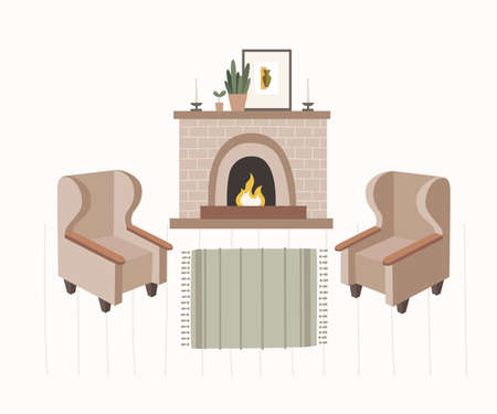 Collection of interior items of living room creating home comfort: fireplace with burning fire, soft armchairs, flower in pot, picture, carpet, candles. Vector illustration in trendy flat style.