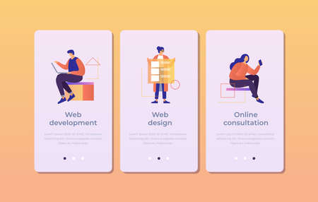 Set of onboarding screens for mobile apps. Banners with people working in web development, design, online consultation. Mobile UI UX app interface template. Vector illustration.