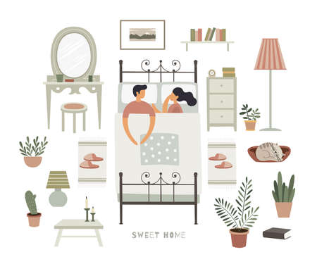 A man and a woman are sleeping together on a bed. A set of bedroom interior items creating a home comfort. Vector illustration in trendy flat style on white isolated background. 矢量图像