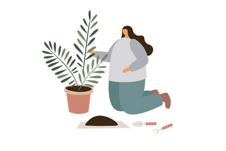 Care and cultivation of indoor plants. The girl prepares the soil for transplanting flowers. Tropical plants at home. Trendy flat vector illustration.
