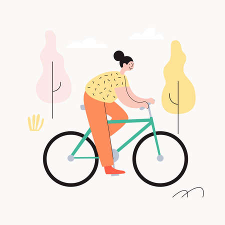 Young cheerful girl riding her bike in autumn park. The concept of an active lifestyle. Ecological type of urban transport. Vector illustration in trendy flat style.