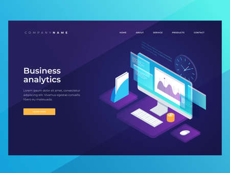 Banners on theme of strategy planning and business analysis. Image of growing charts, financial graphs. Financial review with infographic elements. Landing Page. Isometric illustration.