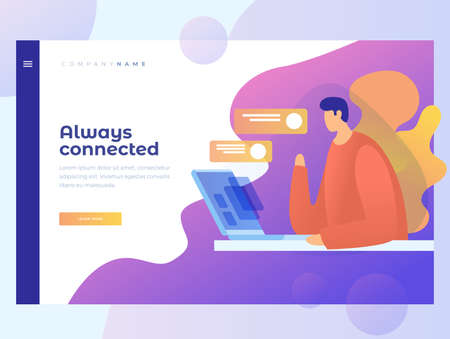 A man checks email. The concept of communication and business correspondence on the Internet. Title for website. Homepage Landing Page. Vector illustration for web.