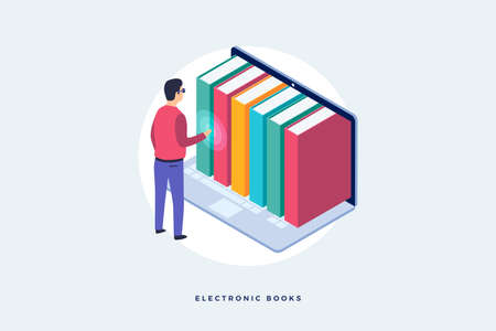 Concept of electronic books. An image of man standing in front of laptop and electronic books. Isometric vector illustration.