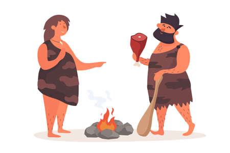 Primitive man with cudgel and piece of meat talks beside woman by fire. Prehistoric people dressed in pelts on white isolated background. Life of Neanderthals and cavemen. Vector flat illustration.