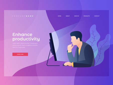 Concept of work in office. Businessman carefully looks at monitor screen and analyzes data. Homepage Title for website. Landing Page. Modern flat style vector illustration. 矢量图像