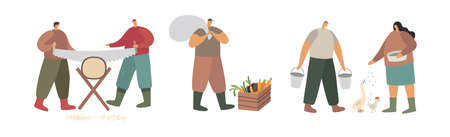 Farmers. Recruitment of people engaged in agricultural activities. Men are sawing a log, carrying water and a bag of crops. Woman feeding poultry. Ecotourism. Trendy flat vector illustration.