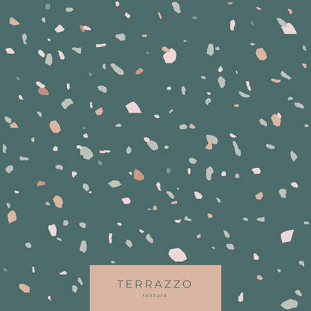 Texture Terrazzo in green colors. Classic italian cover composed of natural stone and concrete. Vector illustration.