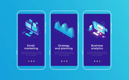 Set of onboarding screens for mobile apps. Banners with monitors screen and graph demonstrating email marketing, business planning and analytics. Mobile UI UX app interface template. 矢量图像