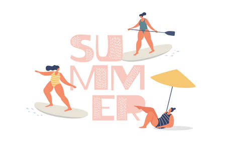 Outdoor activities in the summer at sea. Cute girls in swimsuits ride surfing, sup-surfing and sunbathe on the beach. Leisure time outdoors. Vector illustration in trendy flat style. 矢量图像
