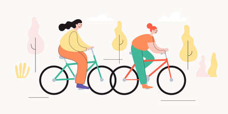 Young cheerful girls ride bicycles in autumn park. The concept of an active lifestyle. Ecological type of urban transport. Vector illustration in trendy flat style.