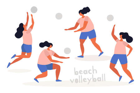The women`s team is training before playing beach volleyball. Popular summer sports and outdoor activities. Vector flat illustration on white isolated background. 矢量图像