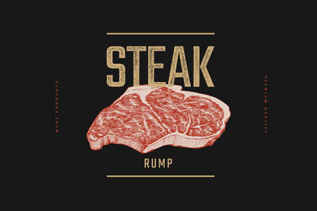 Slice of raw Rump meat steak vector illustration.