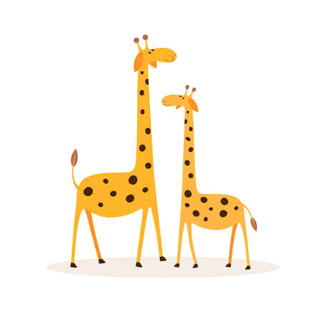 Two cute cartoon giraffe flat illustrations. Charming African animals on isolated background. Exotic fauna of savanna.