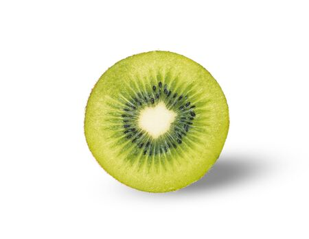 Cut of kiwifruit (Actinidia chinensis) isolated on white background.Sweet,sour and freshness taste.Have a lot of fiber, vitamins and minerals.Food,Fruits or healthcare concept