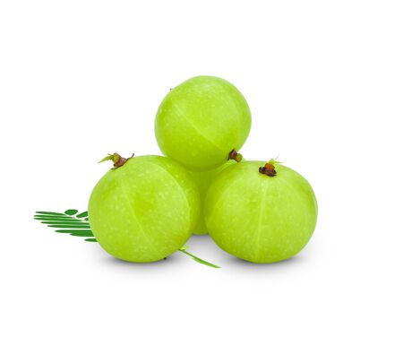 Amla green fruits ,Phyllanthus emblica isolated on white background. This has clipping path. Archivio Fotografico