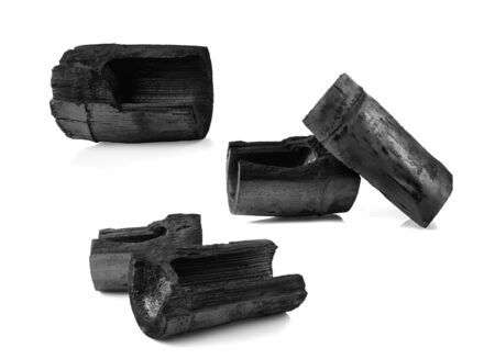 Bamboo charcoal isolated on white background.