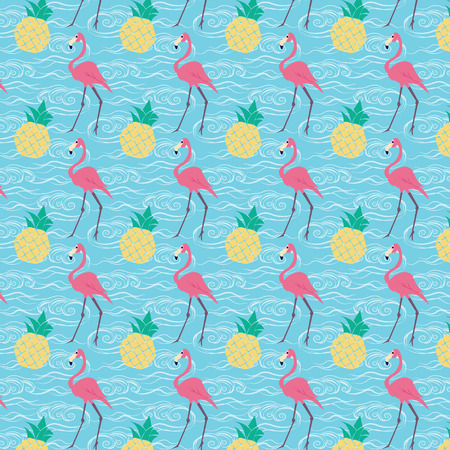 seamless repeat pineapples and flamingo pattern