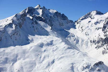 Panoramic view of swiss mountains covered with snow