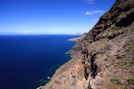 Landscape scenery with ocean and mountains in Gran Canaria