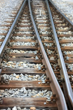 wood railroads: Detailled view of a railroad track  Stock Photo
