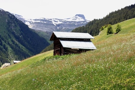 Wooden hut in front of a mountain scenery