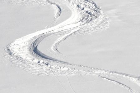 Ski tracks in the powder snow