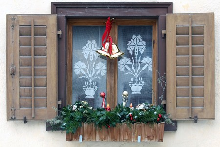 Close view of a decorated window for christmas  Stock Photo