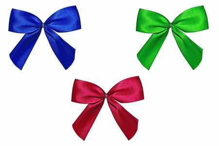 Blue, red and green bow isolated on a white background  photo