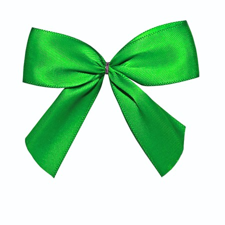 Close view of a green bow isolated on a white background