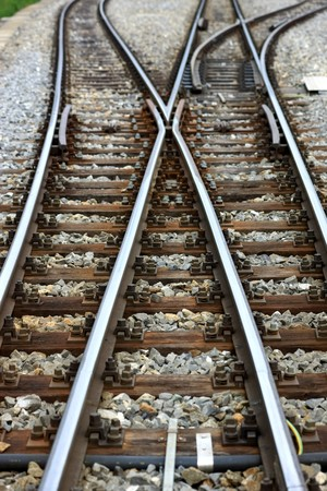 Detail view of a railroad switch with rails ties and gravel