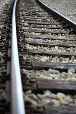 Detailled view of a railroad track  Stock Photo