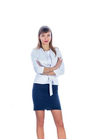 falda corta: Mujer de negocios en una falda corta, frontalmente