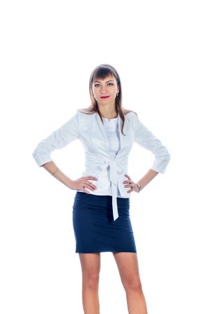 short skirt: business woman in a short skirt, frontally