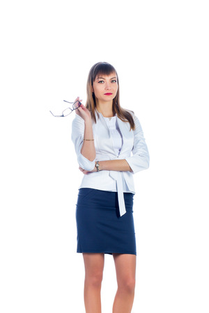 short skirt: business woman in a short skirt with glasses
