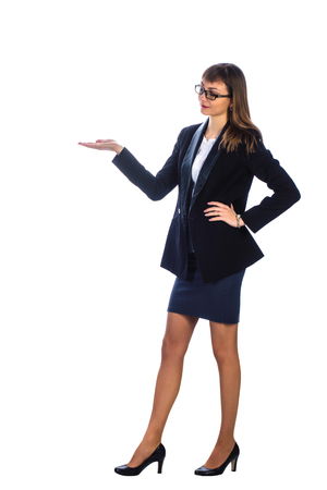 woman profile: business woman in a suit with his hand outstretched, profile Stock Photo