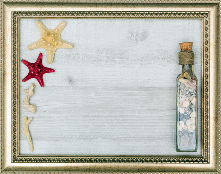 gilded: gilded picture frame with starfish inside, closeup