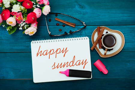 Happy Sunday with a cup of coffee, flat lay Stok Fotoğraf - 57385188