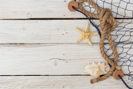 lashing: starfish, marine network and rope on the old board, flat lay