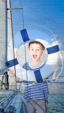 lifeline: Double exposure little boy with lifeline and yacht, closeup Stock Photo