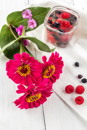 pellucid: Red flower, jelly of raspberry and shadberry. Closeup Stock Photo