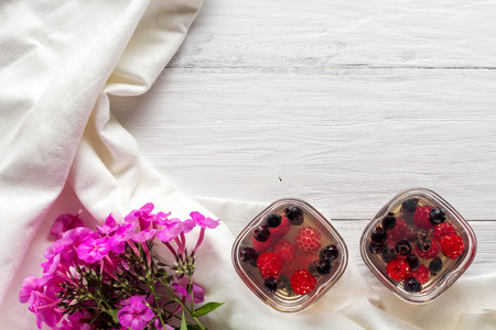 pellucid: jelly of raspberry and shadberry, flat lay Stock Photo